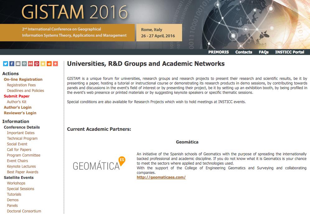 Geomática ES en GISTAM 2016