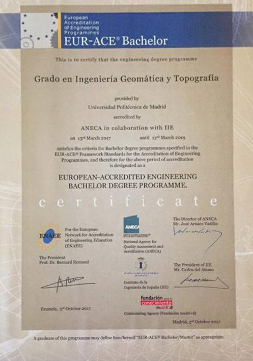 Certificado EUR-ACE a Geomática UPM