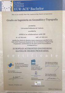 Geomática UPV obtiene el sello EUR-ACE